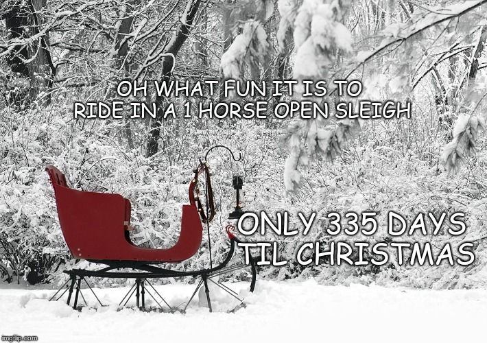 Oh what fun | OH WHAT FUN IT IS TO RIDE IN A 1 HORSE OPEN SLEIGH ONLY 335 DAYS TIL CHRISTMAS | image tagged in christmas | made w/ Imgflip meme maker