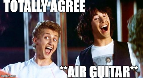 TOTALLY AGREE **AIR GUITAR** | image tagged in bill and ted | made w/ Imgflip meme maker