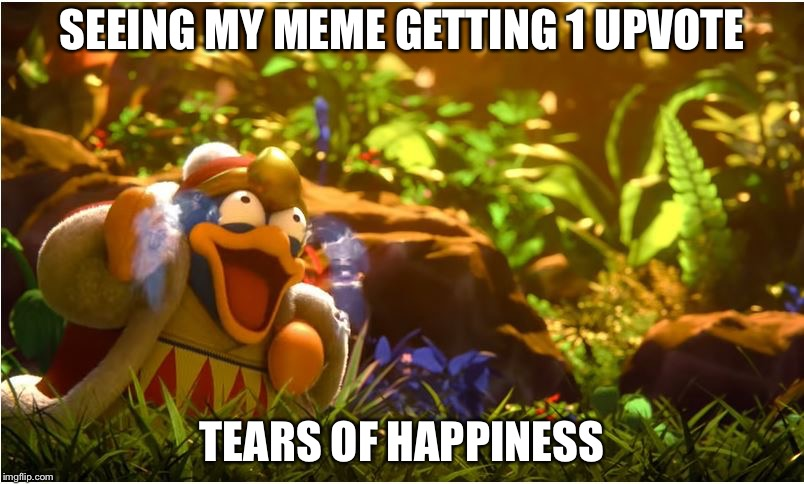 King Dedede | SEEING MY MEME GETTING 1 UPVOTE TEARS OF HAPPINESS | image tagged in king dedede | made w/ Imgflip meme maker