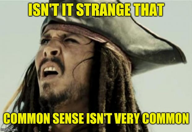 confused dafuq jack sparrow what | ISN'T IT STRANGE THAT COMMON SENSE ISN'T VERY COMMON | image tagged in confused dafuq jack sparrow what | made w/ Imgflip meme maker