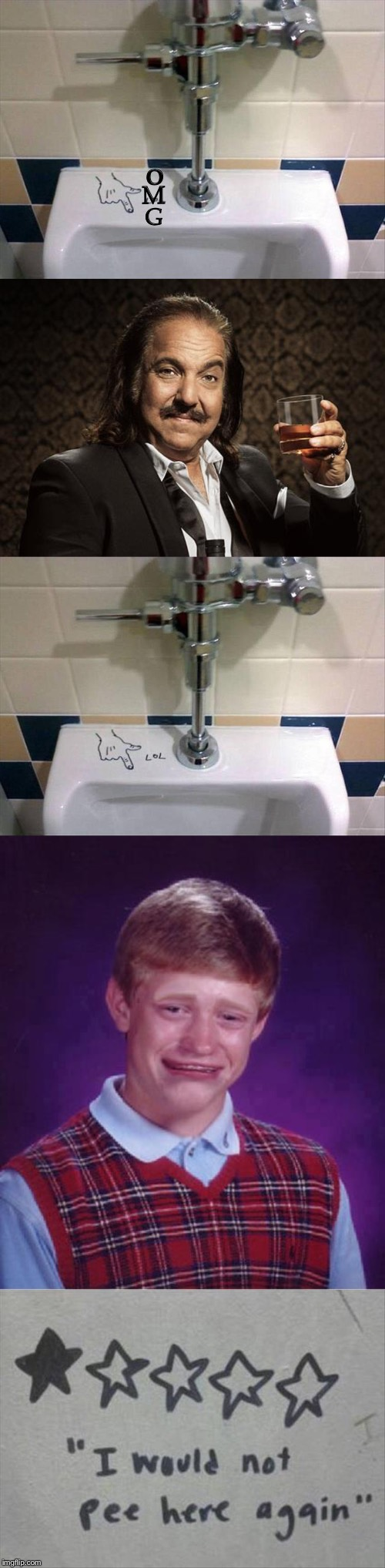 That's the long and the short of it. | O M G | image tagged in bad luck brian cry,ron jeremy,urinal,memes,funny | made w/ Imgflip meme maker