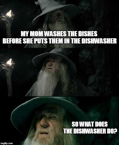Confused Gandalf Meme | MY MOM WASHES THE DISHES BEFORE SHE PUTS THEM IN THE DISHWASHER SO WHAT DOES THE DISHWASHER DO? | image tagged in memes,confused gandalf | made w/ Imgflip meme maker