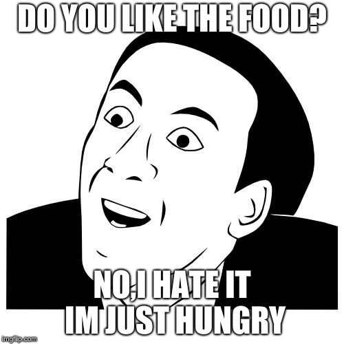 you don't say | DO YOU LIKE THE FOOD? NO,I HATE IT IM JUST HUNGRY | image tagged in you don't say | made w/ Imgflip meme maker