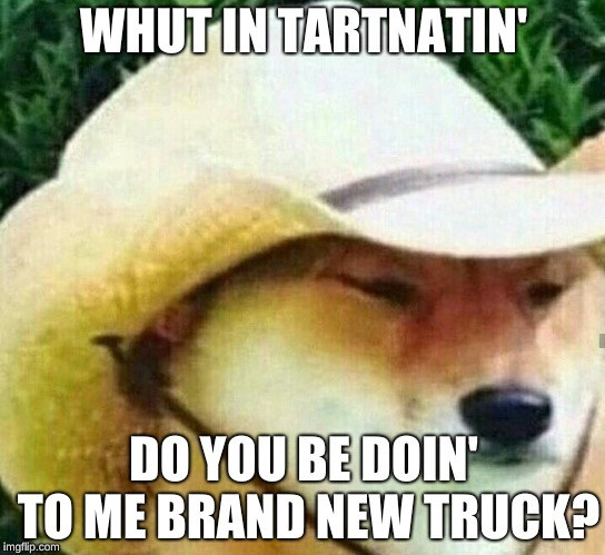 What in tarnation | WHUT IN TARTNATIN' DO YOU BE DOIN' TO ME BRAND NEW TRUCK? | image tagged in what in tarnation | made w/ Imgflip meme maker