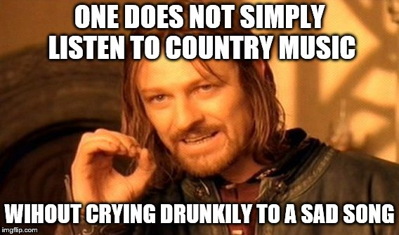 One Does Not Simply | ONE DOES NOT SIMPLY LISTEN TO COUNTRY MUSIC WIHOUT CRYING DRUNKILY TO A SAD SONG | image tagged in memes,one does not simply | made w/ Imgflip meme maker