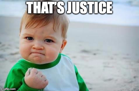 Fist pump baby | THAT'S JUSTICE | image tagged in fist pump baby | made w/ Imgflip meme maker