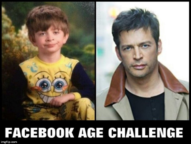 image tagged in facebook,age,challenge,pajama boy,harry,pajama kid | made w/ Imgflip meme maker
