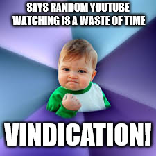 success baby | SAYS RANDOM YOUTUBE WATCHING IS A WASTE OF TIME VINDICATION! | image tagged in success baby | made w/ Imgflip meme maker