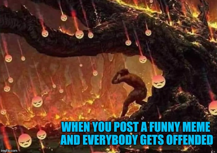 I try not to be too offensive but you can't shield everyone!!! | WHEN YOU POST A FUNNY MEME AND EVERYBODY GETS OFFENDED | image tagged in offended,memes,politically correct,funny,crybabies | made w/ Imgflip meme maker