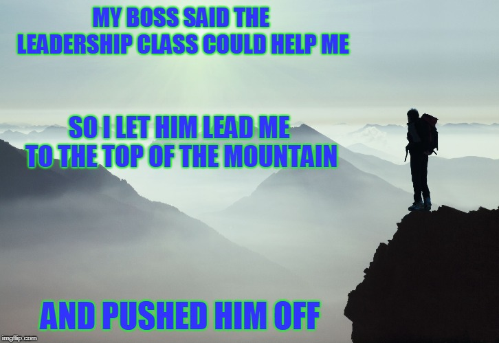 Three Day Weekend! | MY BOSS SAID THE LEADERSHIP CLASS COULD HELP ME AND PUSHED HIM OFF SO I LET HIM LEAD ME TO THE TOP OF THE MOUNTAIN | image tagged in leadership,dark humor | made w/ Imgflip meme maker
