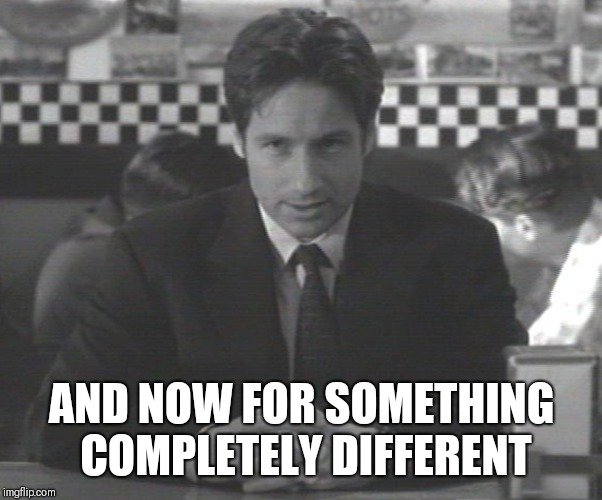 And now for something completely different different  | AND NOW FOR SOMETHING COMPLETELY DIFFERENT | image tagged in mulder announcing stuff,monty python,xfiles | made w/ Imgflip meme maker