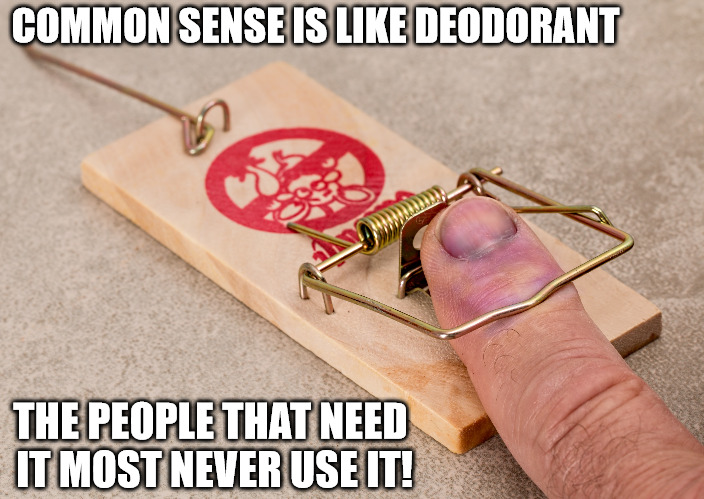 Common Sense: An Endangered Species | COMMON SENSE IS LIKE DEODORANT THE PEOPLE THAT NEED IT MOST NEVER USE IT! | image tagged in common sense,deodorant,mouse trap,wth,memes | made w/ Imgflip meme maker