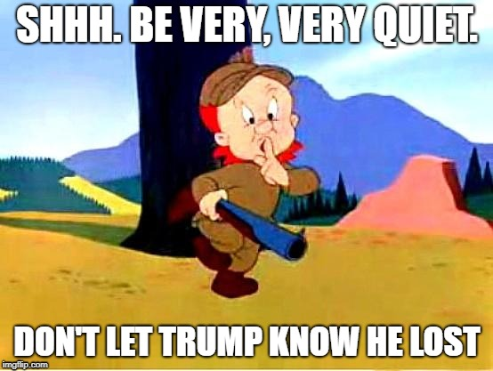 Elmer Fudd |  SHHH. BE VERY, VERY QUIET. DON'T LET TRUMP KNOW HE LOST | image tagged in elmer fudd | made w/ Imgflip meme maker