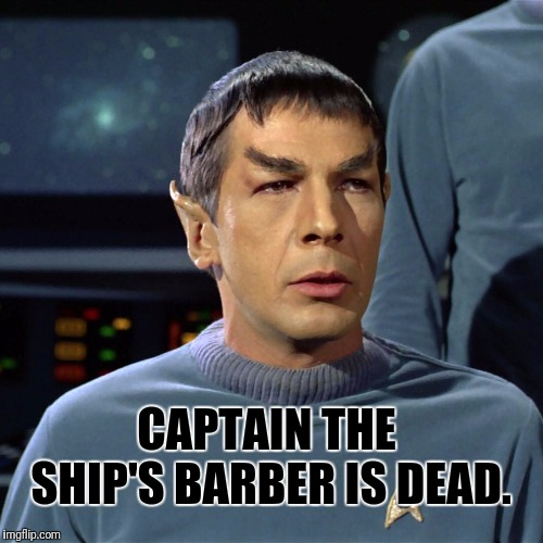 Bad Haircut Spock | CAPTAIN THE SHIP'S BARBER IS DEAD. | image tagged in spock,mr spock,star trek | made w/ Imgflip meme maker