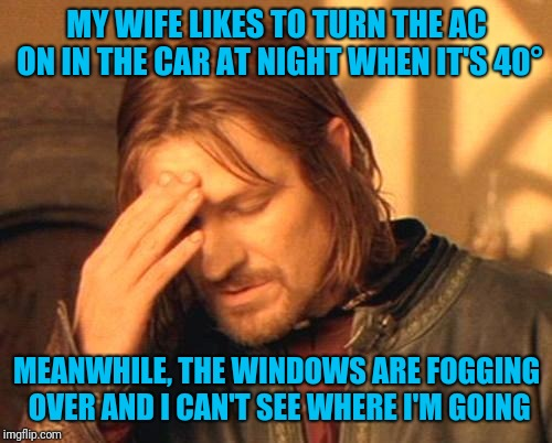 Frustrated Boromir | MY WIFE LIKES TO TURN THE AC ON IN THE CAR AT NIGHT WHEN IT'S 40° MEANWHILE, THE WINDOWS ARE FOGGING OVER AND I CAN'T SEE WHERE I'M GOING | image tagged in frustrated boromir | made w/ Imgflip meme maker