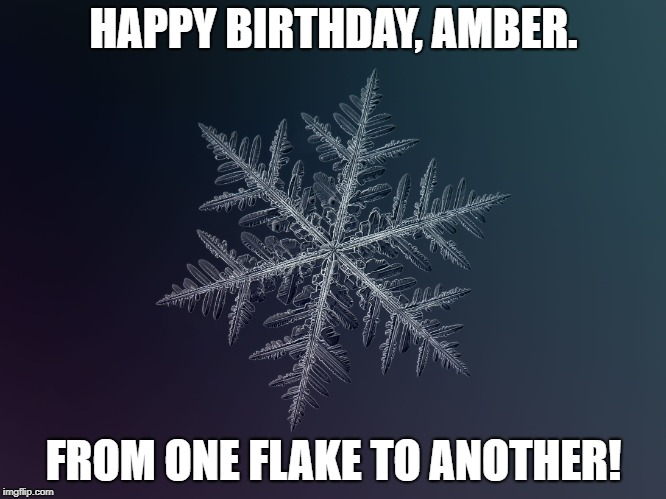 snowflake | HAPPY BIRTHDAY, AMBER. FROM ONE FLAKE TO ANOTHER! | image tagged in snowflake | made w/ Imgflip meme maker