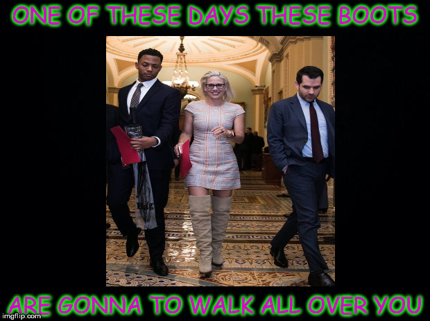 These Boots | ONE OF THESE DAYS THESE BOOTS ARE GONNA TO WALK ALL OVER YOU | image tagged in sinema,enema,democrats,skank,hooker | made w/ Imgflip meme maker