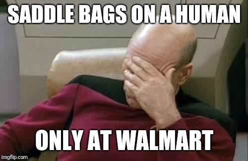 Captain Picard Facepalm Meme | SADDLE BAGS ON A HUMAN ONLY AT WALMART | image tagged in memes,captain picard facepalm | made w/ Imgflip meme maker