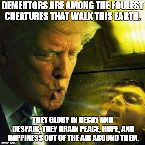Trump the Dementor |  DEMENTORS ARE AMONG THE FOULEST CREATURES THAT WALK THIS EARTH. THEY GLORY IN DECAY AND DESPAIR, THEY DRAIN PEACE, HOPE, AND HAPPINESS OUT OF THE AIR AROUND THEM. | image tagged in trump,donald trump,nevertrump,harry potter,harry potter meme,wizards | made w/ Imgflip meme maker
