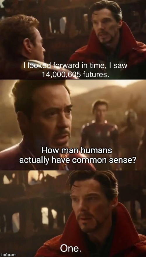 Dr. Strange's Futures | How man humans actually have common sense? | image tagged in dr stranges futures | made w/ Imgflip meme maker