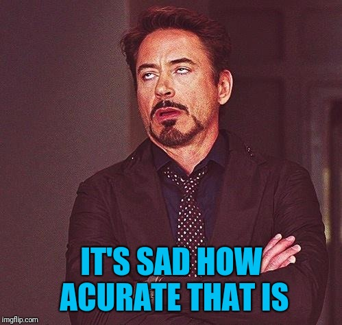 Robert Downey Jr Annoyed | IT'S SAD HOW ACURATE THAT IS | image tagged in robert downey jr annoyed | made w/ Imgflip meme maker