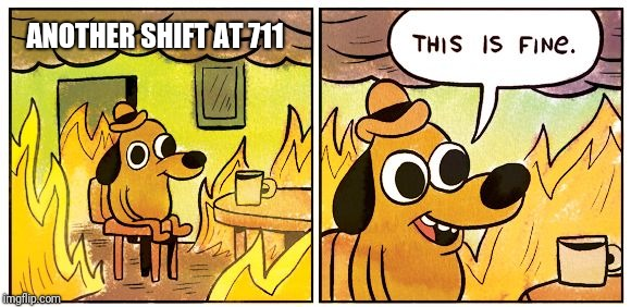 Another Day | ANOTHER SHIFT AT 711 | image tagged in this is fine dog,convenience,customer service,annoying customers,lottery | made w/ Imgflip meme maker
