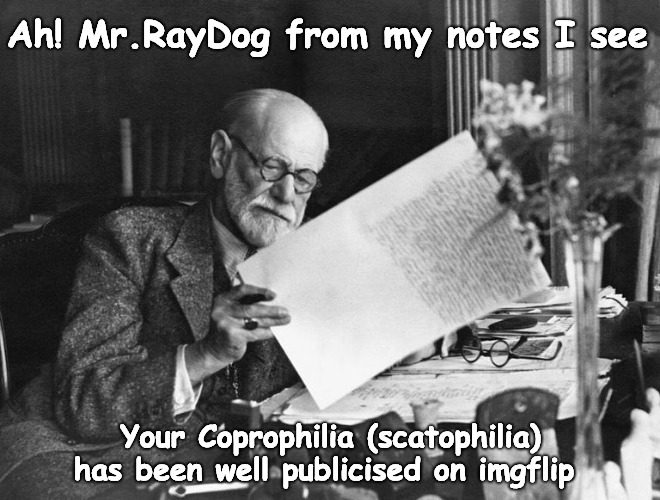 Freudian Shits... | Ah! Mr.RayDog from my notes I see Your Coprophilia (scatophilia) has been well publicised on imgflip | image tagged in freudian slip,raydog,shit | made w/ Imgflip meme maker
