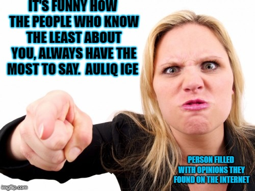 Opinions from the internet | IT'S FUNNY HOW THE PEOPLE WHO KNOW THE LEAST ABOUT YOU, ALWAYS HAVE THE MOST TO SAY.  AULIQ ICE PERSON FILLED WITH OPINIONS THEY FOUND ON TH | image tagged in opinions,internet,false flag,the truth,you can't handle the truth,stupid people | made w/ Imgflip meme maker
