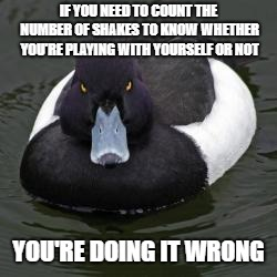 Angry Advice Mallard | IF YOU NEED TO COUNT THE NUMBER OF SHAKES TO KNOW WHETHER YOU'RE PLAYING WITH YOURSELF OR NOT YOU'RE DOING IT WRONG | image tagged in angry advice mallard,AdviceAnimals | made w/ Imgflip meme maker