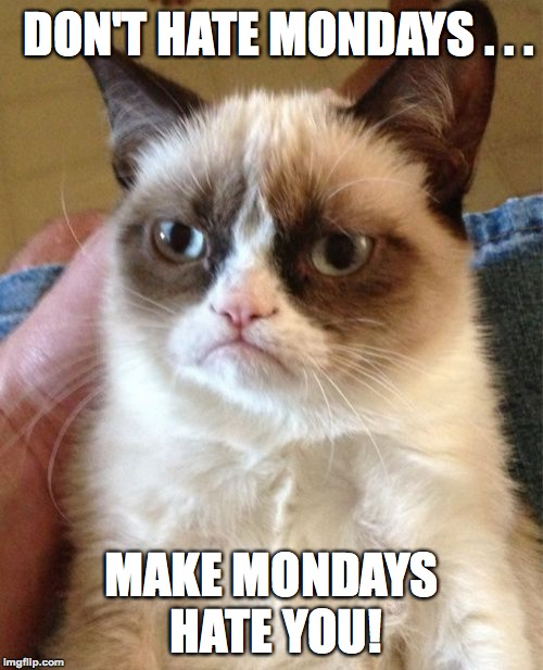 I know it's not Monday, but still... | DON'T HATE MONDAYS . . . MAKE MONDAYS HATE YOU! | image tagged in memes,grumpy cat,funny,mondays,i hate mondays,motivation | made w/ Imgflip meme maker