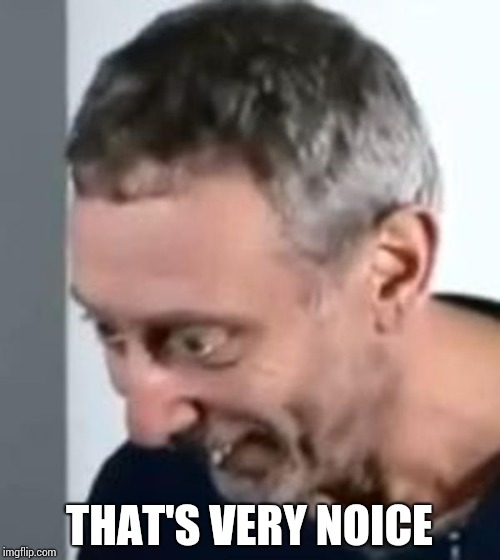 When Michael Rosen realised | THAT'S VERY NOICE | image tagged in when michael rosen realised | made w/ Imgflip meme maker