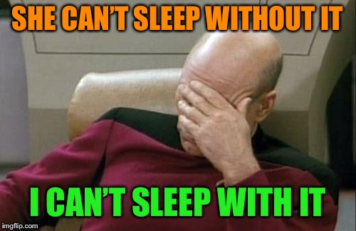 Captain Picard Facepalm Meme | SHE CAN'T SLEEP WITHOUT IT I CAN'T SLEEP WITH IT | image tagged in memes,captain picard facepalm | made w/ Imgflip meme maker