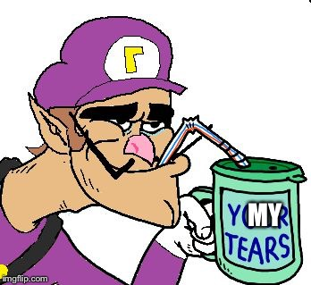 Waluigi Drinking Tears | MY | image tagged in waluigi drinking tears | made w/ Imgflip meme maker