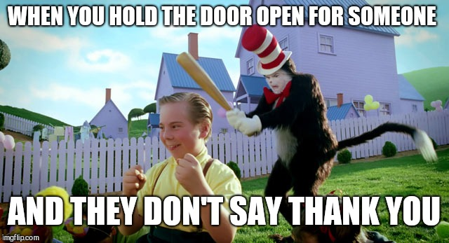 Cat in the hat with a bat. (______ Colorized) | WHEN YOU HOLD THE DOOR OPEN FOR SOMEONE AND THEY DON'T SAY THANK YOU | image tagged in cat in the hat with a bat ______ colorized | made w/ Imgflip meme maker