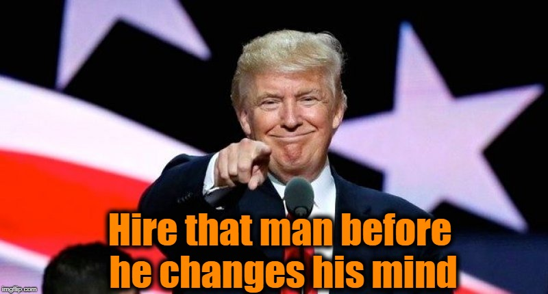 Donald Trump pointing at you. | Hire that man before he changes his mind | image tagged in donald trump pointing at you | made w/ Imgflip meme maker