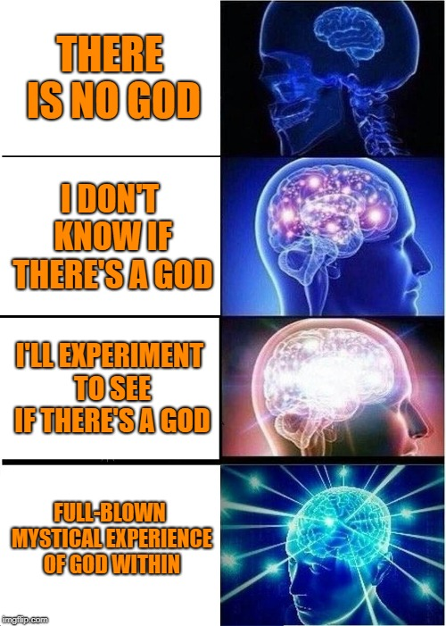 Stages of Spiritual Evolution |  THERE IS NO GOD; I DON'T KNOW IF THERE'S A GOD; I'LL EXPERIMENT TO SEE IF THERE'S A GOD; FULL-BLOWN MYSTICAL EXPERIENCE OF GOD WITHIN | image tagged in expanding brain,god,spirituality,meditation,prayer,consciousness | made w/ Imgflip meme maker