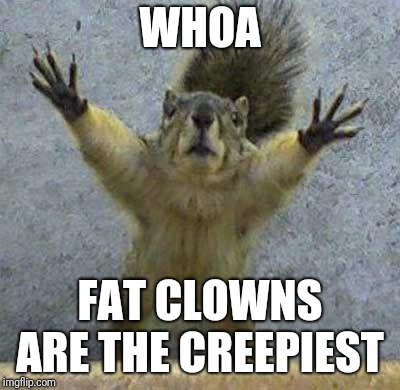 Terrified Squirrel | WHOA FAT CLOWNS ARE THE CREEPIEST | image tagged in terrified squirrel | made w/ Imgflip meme maker