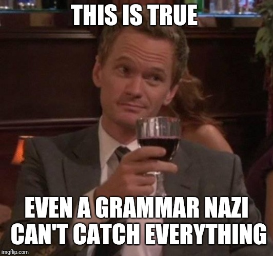 true story | THIS IS TRUE EVEN A GRAMMAR NAZI CAN'T CATCH EVERYTHING | image tagged in true story | made w/ Imgflip meme maker