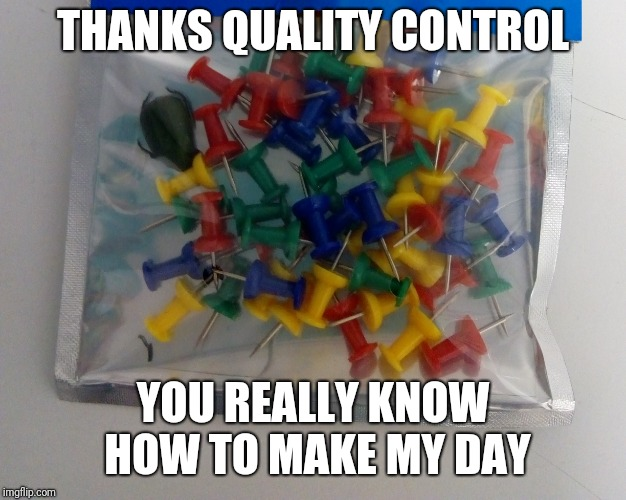 Quality Control at it's Finest | THANKS QUALITY CONTROL YOU REALLY KNOW HOW TO MAKE MY DAY | image tagged in memes,quality control,you had one job,pushpin | made w/ Imgflip meme maker
