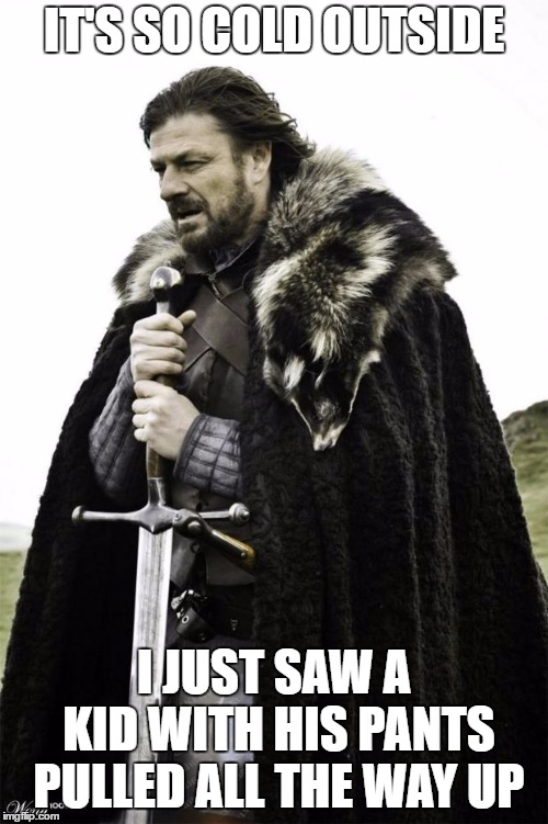 winter is coming | IT'S SO COLD OUTSIDE I JUST SAW A KID WITH HIS PANTS PULLED ALL THE WAY UP | image tagged in winter is coming,random,kid,pants,baby its cold outside,cold | made w/ Imgflip meme maker