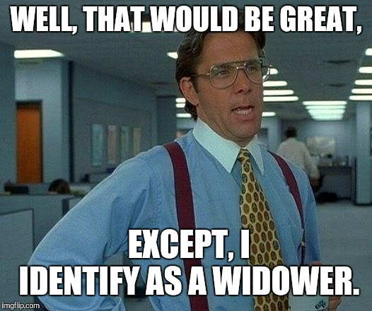 WELL, THAT WOULD BE GREAT, EXCEPT, I IDENTIFY AS A WIDOWER. | image tagged in memes,that would be great | made w/ Imgflip meme maker