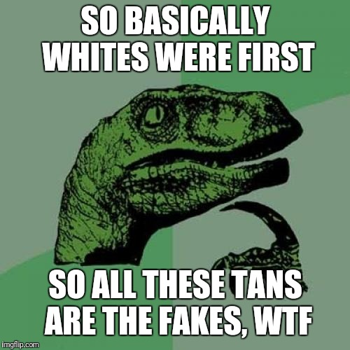 Philosoraptor Meme | SO BASICALLY WHITES WERE FIRST SO ALL THESE TANS ARE THE FAKES, WTF | image tagged in memes,philosoraptor | made w/ Imgflip meme maker