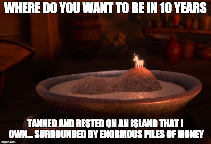 Tangled Life Goals |  WHERE DO YOU WANT TO BE IN 10 YEARS; TANNED AND RESTED ON AN ISLAND THAT I OWN... SURROUNDED BY ENORMOUS PILES OF MONEY | image tagged in tangled,flynn rider swords,disney,life goals,money,island | made w/ Imgflip meme maker
