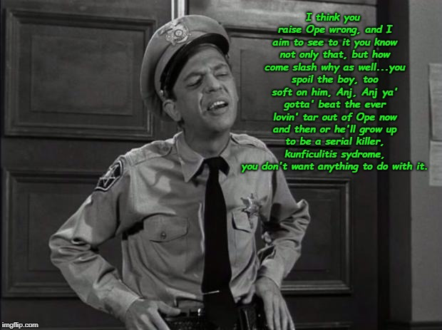 Barney Fife | I think you raise Ope wrong, and I aim to see to it you know not only that, but how come slash why as well...you spoil the boy, too soft on  | image tagged in barney fife | made w/ Imgflip meme maker