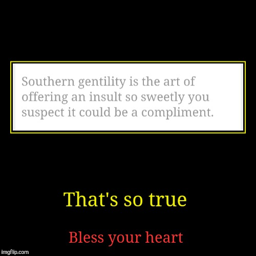Sorry. I had to  | That's so true | Bless your heart | image tagged in funny,demotivationals,bless your heart,redredwine,southern pride | made w/ Imgflip demotivational maker