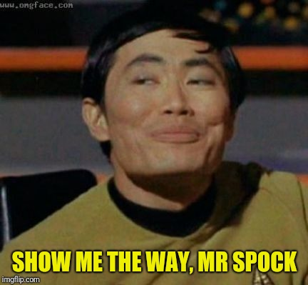 sulu | SHOW ME THE WAY, MR SPOCK | image tagged in sulu | made w/ Imgflip meme maker