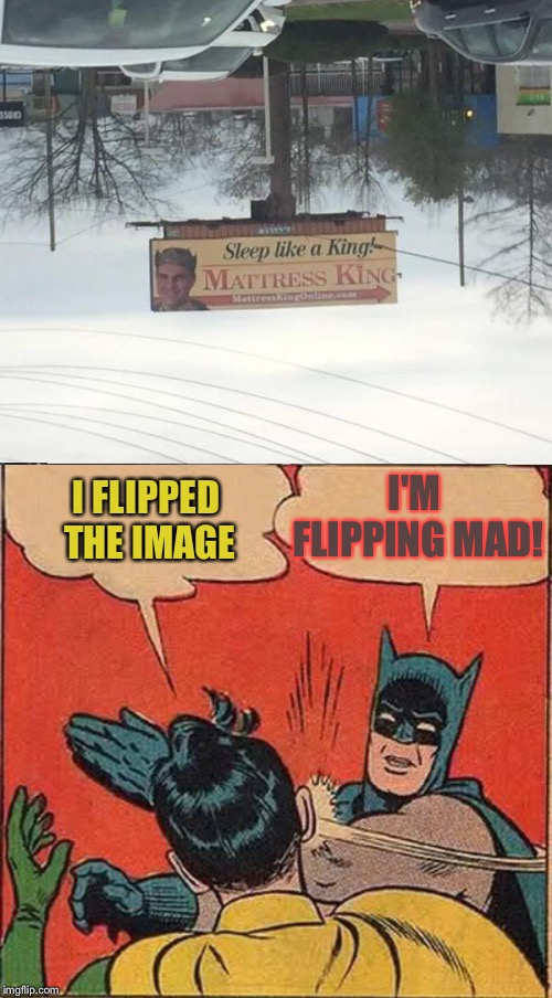 Sometimes it's an upside down world. | I FLIPPED THE IMAGE I'M FLIPPING MAD! | image tagged in memes,batman slapping robin,flip,funny | made w/ Imgflip meme maker