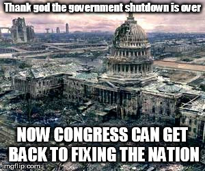 If it ain't broke, just let Congress get a crack at it. | Thank god the government shutdown is over NOW CONGRESS CAN GET BACK TO FIXING THE NATION | image tagged in government shutdown | made w/ Imgflip meme maker