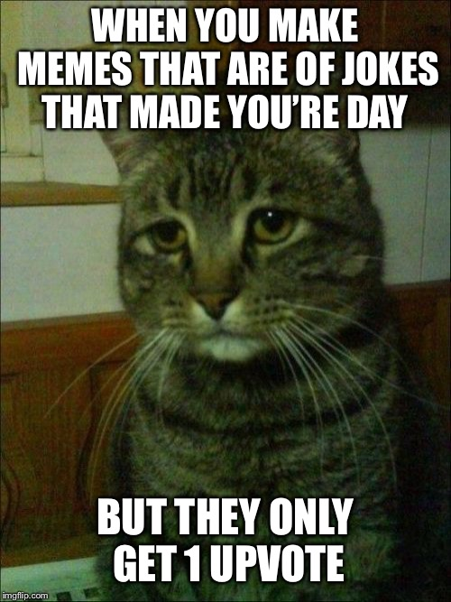 Depressed Cat |  WHEN YOU MAKE MEMES THAT ARE OF JOKES THAT MADE YOU'RE DAY; BUT THEY ONLY GET 1 UPVOTE | image tagged in memes,depressed cat,10k,pls | made w/ Imgflip meme maker
