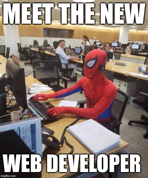 MEET THE NEW WEB DEVELOPER | image tagged in memes,spiderman computer desk | made w/ Imgflip meme maker